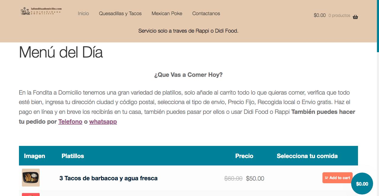 pagina web de restaurante